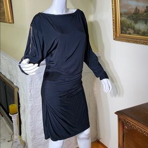 Marciano Black Bodicon Gold Zippers Vintage Dress